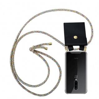 Cadorabo Handy Kette für OnePlus 7 PRO in RAINBOW Silikon Necklace Umhänge Hülle mit Gold Ringen, Kordel Band Schnur und abnehmbarem Etui Schutzhülle