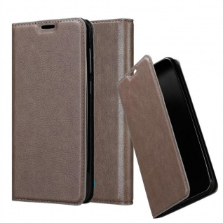 Cadorabo Hülle für WIKO VIEW 2 GO in KAFFEE BRAUN - Handyhülle mit Magnetverschluss, Standfunktion und Kartenfach - Case Cover Schutzhülle Etui Tasche Book Klapp Style