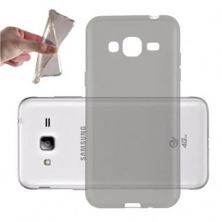 Cadorabo Hülle für Samsung Galaxy J3 2016 in TRANSPARENT SCHWARZ - Handyhülle aus flexiblem TPU Silikon - Silikonhülle Schutzhülle Ultra Slim Soft Back Cover Case Bumper