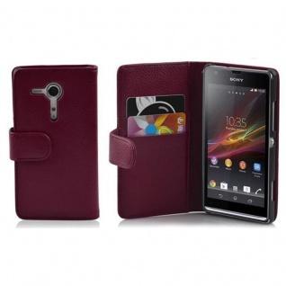 Cadorabo Hülle für Sony Xperia SP in BORDEAUX LILA - Handyhülle aus strukturiertem Kunstleder mit Standfunktion und Kartenfach - Case Cover Schutzhülle Etui Tasche Book Klapp Style