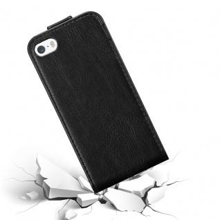 Cadorabo Hülle für Apple iPhone 5 / iPhone 5S / iPhone SE in NACHT SCHWARZ - Handyhülle im Flip Design mit unsichtbarem Magnetverschluss - Case Cover Schutzhülle Etui Tasche Book Klapp Style - Vorschau 4