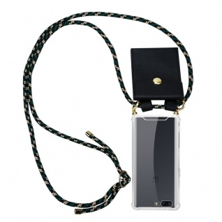 Cadorabo Handy Kette für OnePlus 5 in CAMOUFLAGE ? Silikon Necklace Umhänge Hülle mit Gold Ringen, Kordel Band Schnur und abnehmbarem Etui ? Schutzhülle