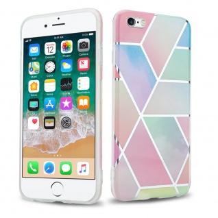 Cadorabo Hülle für Apple iPhone 6 / iPhone 6S Hülle in Regenbogen Marmor No.11 Handyhülle aus TPU Silikon mit Muster Mosaik Silikonhülle Schutzhülle Ultra Slim Back Cover Case Bumper