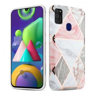 Cadorabo Hülle für Samsung Galaxy M21 / M30s Hülle in Pink grau weiß Marmor No.10 Handyhülle aus TPU Silikon mit Muster Mosaik Silikonhülle Schutzhülle Ultra Slim Back Cover Case Bumper