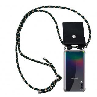 Cadorabo Handy Kette für Samsung Galaxy A70 in CAMOUFLAGE Silikon Necklace Umhänge Hülle mit Silber Ringen, Kordel Band Schnur und abnehmbarem Etui Schutzhülle