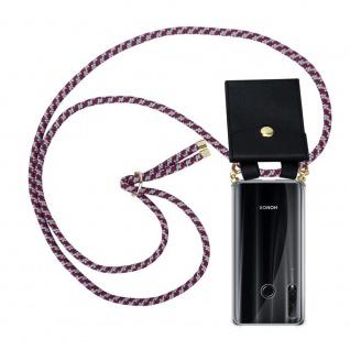 Cadorabo Handy Kette für Honor 20e in ROT WEISS Silikon Necklace Umhänge Hülle mit Gold Ringen, Kordel Band Schnur und abnehmbarem Etui Schutzhülle
