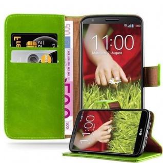 Cadorabo Hülle für LG G2 in GRAS GRÜN - Handyhülle mit Magnetverschluss, Standfunktion und Kartenfach - Case Cover Schutzhülle Etui Tasche Book Klapp Style