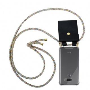 Cadorabo Handy Kette für LG K50 in RAINBOW - Silikon Necklace Umhänge Hülle mit Gold Ringen, Kordel Band Schnur und abnehmbarem Etui ? Schutzhülle