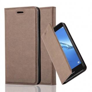 Cadorabo Hülle für Honor 6C in KAFFEE BRAUN - Handyhülle mit Magnetverschluss, Standfunktion und Kartenfach - Case Cover Schutzhülle Etui Tasche Book Klapp Style