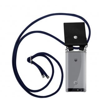 Cadorabo Handy Kette für Huawei NOVA in TIEF BLAU Silikon Necklace Umhänge Hülle mit Silber Ringen, Kordel Band Schnur und abnehmbarem Etui Schutzhülle