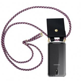 Cadorabo Handy Kette für Samsung Galaxy NOTE 3 in ROT WEISS - Silikon Necklace Umhänge Hülle mit Gold Ringen, Kordel Band Schnur und abnehmbarem Etui ? Schutzhülle