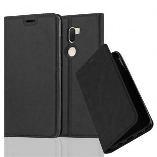 Cadorabo Hülle für Xiaomi Mi 5S PLUS in NACHT SCHWARZ - Handyhülle mit Magnetverschluss, Standfunktion und Kartenfach - Case Cover Schutzhülle Etui Tasche Book Klapp Style