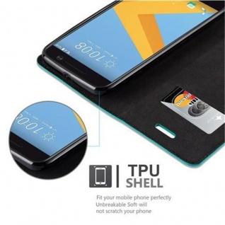 Cadorabo Hülle für HTC 10 (One M10) in PETROL TÜRKIS - Handyhülle mit Magnetverschluss, Standfunktion und Kartenfach - Case Cover Schutzhülle Etui Tasche Book Klapp Style - Vorschau 4