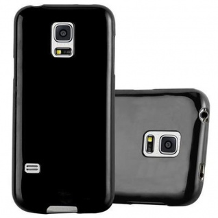 Cadorabo Hülle für Samsung Galaxy S5 MINI / S5 MINI DUOS in JELLY SCHWARZ ? Handyhülle aus flexiblem TPU Silikon ? Silikonhülle Schutzhülle Ultra Slim Soft Back Cover Case Bumper