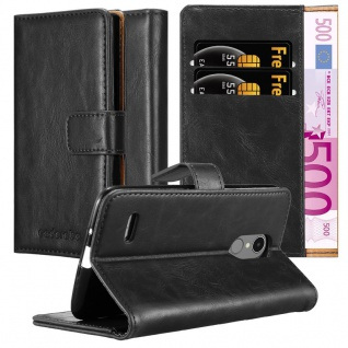 Cadorabo Hülle für LG K8 2017 in GRAPHIT SCHWARZ ? Handyhülle mit Magnetverschluss, Standfunktion und Kartenfach ? Case Cover Schutzhülle Etui Tasche Book Klapp Style