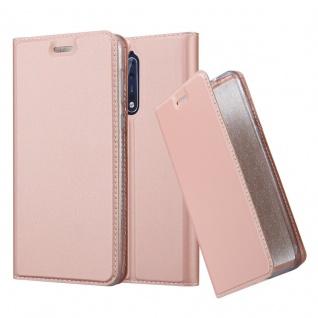 Cadorabo Hülle für Nokia 8 2017 in CLASSY ROSÉ GOLD - Handyhülle mit Magnetverschluss, Standfunktion und Kartenfach - Case Cover Schutzhülle Etui Tasche Book Klapp Style