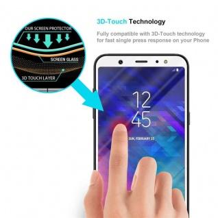 Cadorabo Vollbild Panzer Folie für Samsung Galaxy A6 PLUS 2018 - Schutzfolie in TRANSPARENT mit WEISS - Gehärtetes (Tempered) Display-Schutzglas in 9H Härte mit 3D Touch Kompatibilität - Vorschau 5