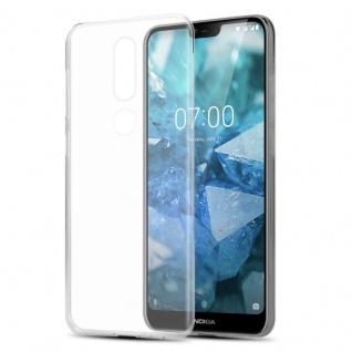 Cadorabo Hülle für Nokia 7.1 2018 in VOLL TRANSPARENT - Handyhülle aus flexiblem TPU Silikon - Silikonhülle Schutzhülle Ultra Slim Soft Back Cover Case Bumper