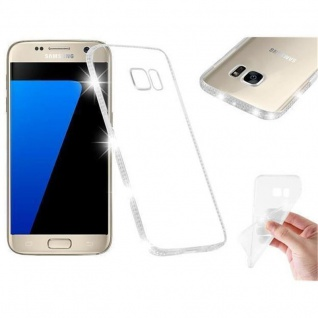 Cadorabo Hülle für Samsung Galaxy S7 - Hülle in TRANSPARENT WEIß - Handyhülle aus TPU Silikon im Strass Design - Silikonhülle Schutzhülle Ultra Slim Soft Back Cover Case Bumper