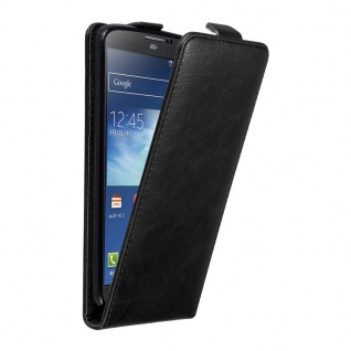 Cadorabo Hülle für Samsung Galaxy NOTE 3 in NACHT SCHWARZ - Handyhülle im Flip Design mit unsichtbarem Magnetverschluss - Case Cover Schutzhülle Etui Tasche Book Klapp Style