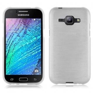 Cadorabo Hülle für Samsung Galaxy J1 2015 in SILBER - Handyhülle aus flexiblem TPU Silikon - Silikonhülle Schutzhülle Ultra Slim Soft Back Cover Case Bumper