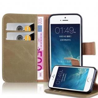 Cadorabo Hülle für Apple iPhone 5 / iPhone 5S / iPhone SE in CAPPUCINO BRAUN - Handyhülle mit Magnetverschluss, Standfunktion und Kartenfach - Case Cover Schutzhülle Etui Tasche Book Klapp Style