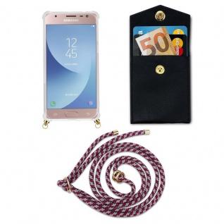 Cadorabo Handy Kette für Samsung Galaxy J3 2017 in ROT WEISS - Silikon Necklace Umhänge Hülle mit Gold Ringen, Kordel Band Schnur und abnehmbarem Etui ? Schutzhülle - Vorschau 5