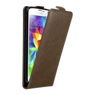 Cadorabo Hülle für Samsung Galaxy S5 MINI / S5 MINI DUOS in KAFFEE BRAUN - Handyhülle im Flip Design mit unsichtbarem Magnetverschluss - Case Cover Schutzhülle Etui Tasche Book Klapp Style