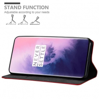 Cadorabo Hülle für OnePlus 7 PRO in APFEL ROT Handyhülle mit Magnetverschluss, Standfunktion und Kartenfach Case Cover Schutzhülle Etui Tasche Book Klapp Style - Vorschau 3