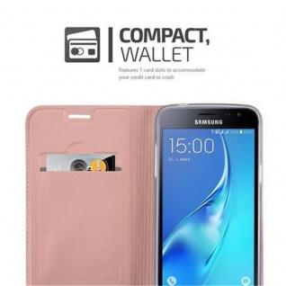 Cadorabo Hülle für Samsung Galaxy J3 2016 in CLASSY ROSÉ GOLD - Handyhülle mit Magnetverschluss, Standfunktion und Kartenfach - Case Cover Schutzhülle Etui Tasche Book Klapp Style - Vorschau 3