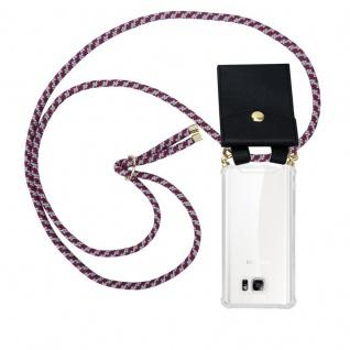 Cadorabo Handy Kette für Samsung Galaxy NOTE 5 in ROT WEISS - Silikon Necklace Umhänge Hülle mit Gold Ringen, Kordel Band Schnur und abnehmbarem Etui ? Schutzhülle