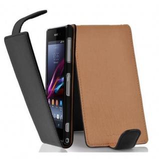 Cadorabo Hülle für Sony Xperia Z1 in OXID SCHWARZ - Handyhülle im Flip Design aus strukturiertem Kunstleder - Case Cover Schutzhülle Etui Tasche Book Klapp Style
