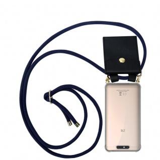 Cadorabo Handy Kette für ZTE Blade V8 in TIEF BLAU - Silikon Necklace Umhänge Hülle mit Gold Ringen, Kordel Band Schnur und abnehmbarem Etui ? Schutzhülle