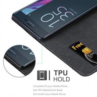 Cadorabo Hülle für Sony Xperia XZ / XZs in SCHWARZ BRAUN ? Handyhülle mit Magnetverschluss, Standfunktion und Kartenfach ? Case Cover Schutzhülle Etui Tasche Book Klapp Style