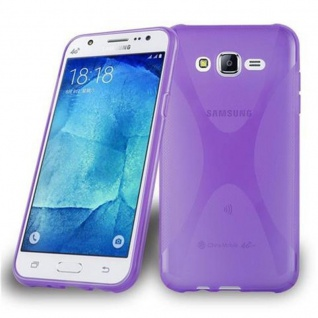 Cadorabo Hülle für Samsung Galaxy J7 2015 in FLIEDER VIOLETT - Handyhülle aus flexiblem TPU Silikon - Silikonhülle Schutzhülle Ultra Slim Soft Back Cover Case Bumper