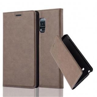 Cadorabo Hülle für Samsung Galaxy NOTE EDGE in KAFFEE BRAUN - Handyhülle mit Magnetverschluss, Standfunktion und Kartenfach - Case Cover Schutzhülle Etui Tasche Book Klapp Style