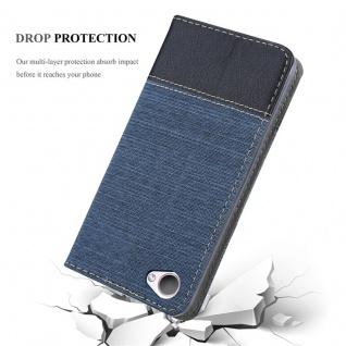 Cadorabo Hülle für HTC Desire 12 in DUNKEL BLAU SCHWARZ - Handyhülle mit Magnetverschluss, Standfunktion und Kartenfach - Case Cover Schutzhülle Etui Tasche Book Klapp Style - Vorschau 5