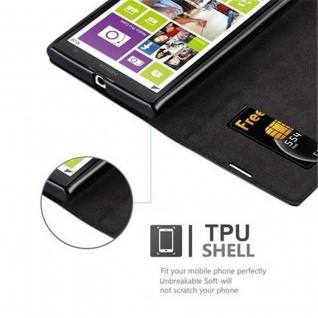Cadorabo Hülle für Nokia Lumia 1020 in NACHT SCHWARZ - Handyhülle mit Magnetverschluss, Standfunktion und Kartenfach - Case Cover Schutzhülle Etui Tasche Book Klapp Style - Vorschau 3