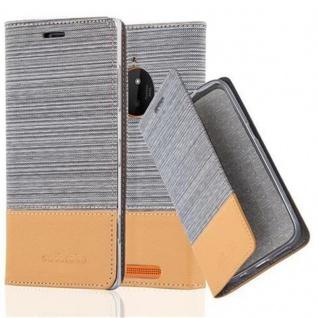 Cadorabo Hülle für Nokia Lumia 830 in HELL GRAU BRAUN - Handyhülle mit Magnetverschluss, Standfunktion und Kartenfach - Case Cover Schutzhülle Etui Tasche Book Klapp Style