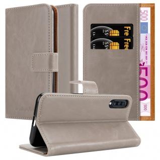 Cadorabo Hülle für Samsung Galaxy A70 in CAPPUCCINO BRAUN Handyhülle mit Magnetverschluss, Standfunktion und Kartenfach Case Cover Schutzhülle Etui Tasche Book Klapp Style