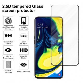 Cadorabo Vollbild Panzer Folie für Samsung Galaxy A80 / A90 - Schutzfolie in TRANSPARENT mit SCHWARZ - Gehärtetes (Tempered) Display-Schutzglas in 9H Härte mit 3D Touch Kompatibilität - Vorschau 4