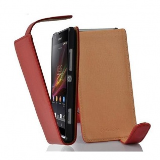 Cadorabo Hülle für Sony Xperia SP in INFERNO ROT - Handyhülle im Flip Design aus strukturiertem Kunstleder - Case Cover Schutzhülle Etui Tasche Book Klapp Style