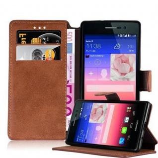 Cadorabo Hülle für Huawei P7 - Hülle in MATT BRAUN - Handyhülle mit Standfunktion und Kartenfach im Retro Design - Case Cover Schutzhülle Etui Tasche Book Klapp Style