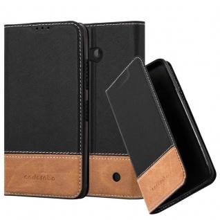 Cadorabo Hülle für Nokia Lumia 640 in SCHWARZ BRAUN ? Handyhülle mit Magnetverschluss, Standfunktion und Kartenfach ? Case Cover Schutzhülle Etui Tasche Book Klapp Style