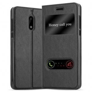 Cadorabo Hülle für Nokia 6 2017 in KOMETEN SCHWARZ - Handyhülle mit Magnetverschluss, Standfunktion und 2 Sichtfenstern - Case Cover Schutzhülle Etui Tasche Book Klapp Style