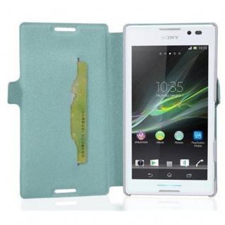 Cadorabo Hülle für Sony Xperia C - Hülle in ICY BLAU ? Handyhülle mit Standfunktion und Kartenfach im Ultra Slim Design - Case Cover Schutzhülle Etui Tasche Book
