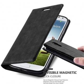 Cadorabo Hülle für Samsung Galaxy S4 in NACHT SCHWARZ Handyhülle mit Magnetverschluss, Standfunktion und Kartenfach Case Cover Schutzhülle Etui Tasche Book Klapp Style