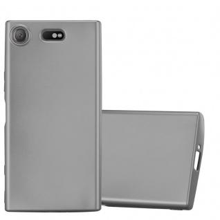 Cadorabo Hülle für Sony Xperia XZ1 Compact in METALLIC GRAU - Handyhülle aus flexiblem TPU Silikon - Silikonhülle Schutzhülle Ultra Slim Soft Back Cover Case Bumper
