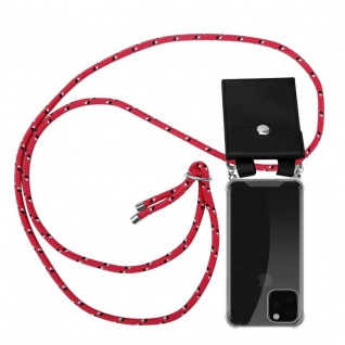 Cadorabo Handy Kette für Apple iPhone 11 PRO (XI PRO) in PINK SCHWARZ WEISS GEPUNKTET - Silikon Necklace Umhänge Hülle mit Silber Ringen, Kordel Band Schnur und abnehmbarem Etui - Schutzhülle