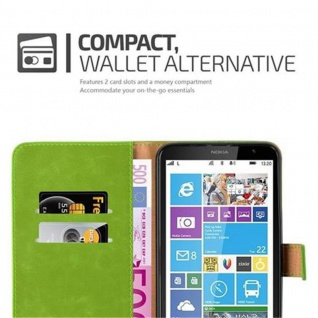 Cadorabo Hülle für Nokia Lumia 1320 in GRAS GRÜN - Handyhülle mit Magnetverschluss, Standfunktion und Kartenfach - Case Cover Schutzhülle Etui Tasche Book Klapp Style - Vorschau 3